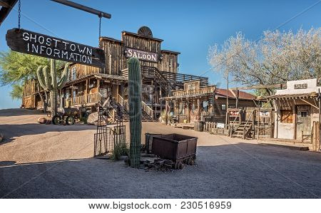 Goldfield, Arizona, Usa - May 17, 2016 : Old Saloon, Gallery And Jail In Goldfield Ghost Town. Goldf