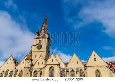 The Lutheran Cathedral Of Saint Mary, The Most Famous Gothic-style Church In Sibiu That Was Built In