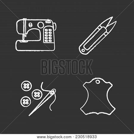 Tailoring Chalk Icons Set. Sewing Machine, Thread Cutter, Needle And Buttons, Leather Label. Isolate
