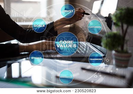 Core Values Business And Technology Concept On The Virtual Screen