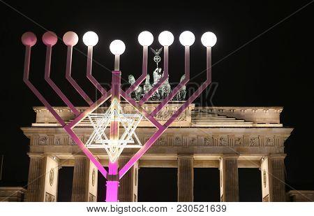 Menorah During Hanukkah In Front Of Brandenburg Gate, Pariser Platz, Berlin, Germany