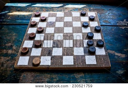 A Game Of Chess, Checkers. Chess Tournament. A Chessboard, Checkers. Whiteboard In Black And White