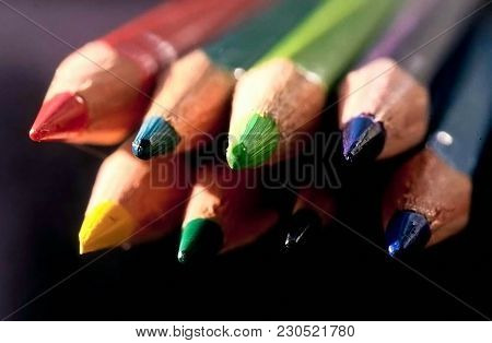 Color Pencils Close-up, Saturated Colors Of Artist Pencils