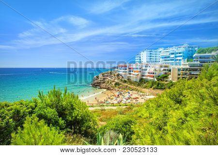 Spanish Costa Dorada Resort In Summer. Beautiful Beaches And Sea Bays On Spain Coastline.