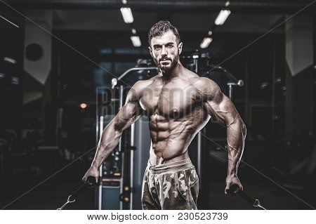 Handsome Model Muscle Man Abs Workout In Gym