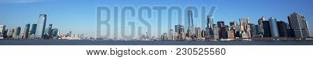 Jersey City And New York City Skyline