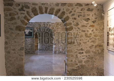 Mostar, Bosnia And Herzegovina - August 17 2017: Arched Ancient Doorway Of The Museum Of The Old Bri