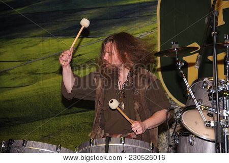 Genoa Italy - March 9 2018: A Drummer Of The Saor Patrol Group At The Irish Festival Of The Fair Of