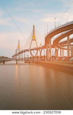 Dual Suspension Bridge River Side Highway Connection In Bangkok Thailand