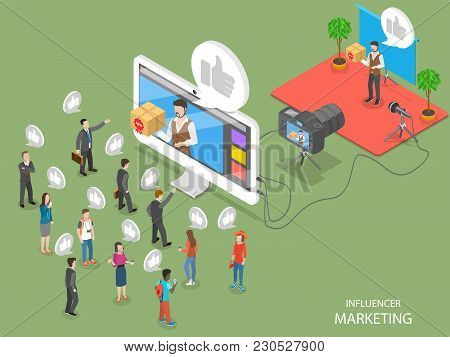 Influencer Marketing Flat Isometric Vector Concept. Video Blogger Is Representing A New Product For