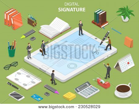 Digital Signature Flat Isometric Vector Concept. Group Of People Are Concluding A Contract And Signi