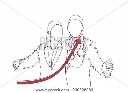 Red Growing Arrow Over Silhouette Of Business Man And Woman Speaking, Doodle Businessman Point Finge