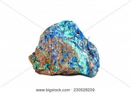 Macro Shooting Of Natural Gemstone. Raw Mineral Azurite, Morocco. Isolated Object On A White Backgro