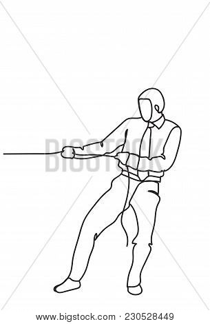 Hand Drawn Business Man Pulling Rope Strong Businessman Competition Concept Vector Illustration