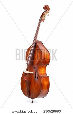 Side View Of A Double Bass On White Background