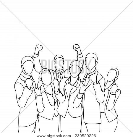 Cheerful Group Of Business People Holding Raised Hands Happy Successful Team Doodle Silhouettes On W