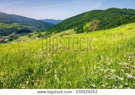 Grassy Meadow On A Hillside. Beautiful Countryside With Village Down In The Valley. Lovely Bright Su