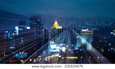 Blurred Bokeh Light Business Downtown Double Exposure Night View, Abstract Background
