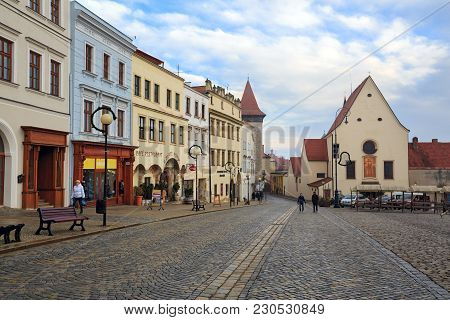 Znojmo/ Czech Republic - Dezember 28, 2017. View Of The Masarykovo Square With The Capuchin Monaster