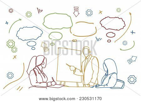 Business People Team Conference Or Training Doodle Group Of Businesspeople Sit At Desk Together Brai