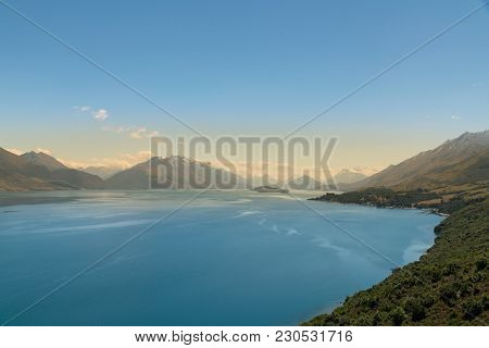 Wanaka Lake Blue Colour High View, New Zealand Natural Landscape Background