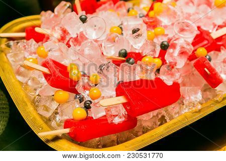 Tray Of Fruit Ice Lollies For Spring Festival Outdoor Party Function Event