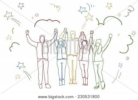 Successful Group Of People Holding Raised Hands Happy Business Team Colorful Doodle Silhouettes Vect