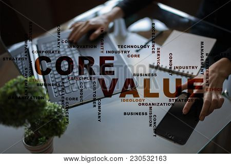 Core Value On The Virtual Screen. Business Concept. Words Cloud