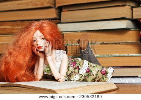 Beautiful Red-haired Bjd Doll And A Book