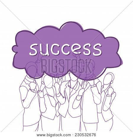Business Success Concept Cheerful Group Of Businesspeople Holding Raised Hands Happy Successful Team