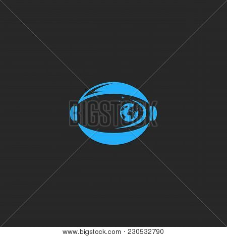Helmet Astronaut Logo, Abstract Figure Cosmonaut Discoverer With The Reflection Of The Planet Earth,