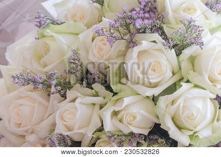 Beautiful Sweet White Roses Bouquet In Close Up View. Luxury Romantic Gift Or The Present On Valenti