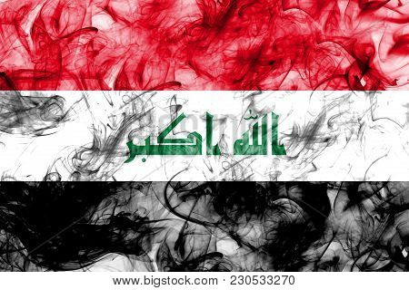 Iraq Smoke Flag On A White Background