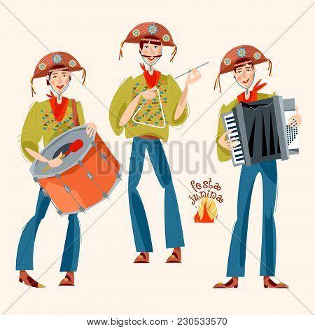 Brazilian Holiday Festa Junina (the June Party). Trio De Forró (a Trio Of Musicians Playing An Accor