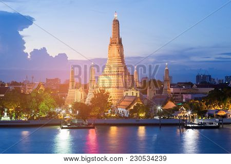 Twilight At Arun Temple River Front, Famous Attraction In Thailand, Bangkok Landmark
