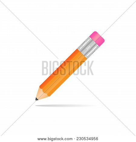 Yellow Pencil With A Rubber Band On A White Background