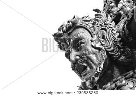 Head Of Giant Thai Guardian Statue Or Warrior Statue In Public Buddhism Temple Of Thailand