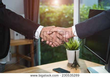 Businessman Handshake Cooperate Together Friendship After Meeting