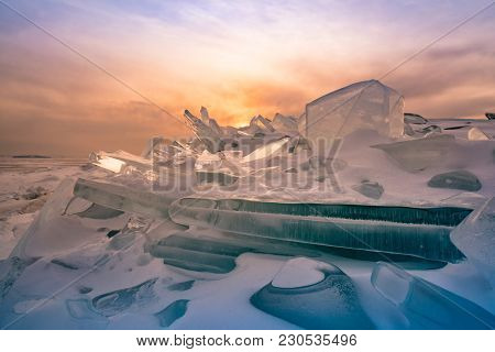 Ice Crack On Frozen Baikal Water Lake Northern Siberia Russia Winter Season Natural Landscape