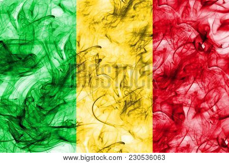 Mali Smoke Flag On A White Background