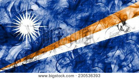 Marshall Islands Smoke Flag On A White Background