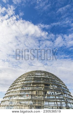 Berlin, Germany - September 20, 2017: Reichstag Roof Dome. It Is A Glass Dome Constructed On The Top