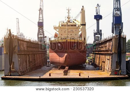 Ship In A Dry Dock For Replairs