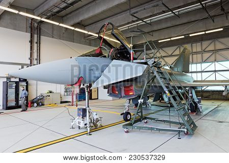 Laage, Germany - Aug 23, 2014: A German Air Force Eurofighter Typhoon Parked In A Shelter During The