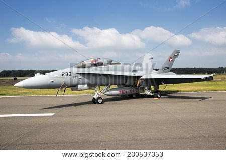 Kleine Brogel, Belgium - Sep 13, 2014: Swiss Air Force F/a-18 Hornet On The Taxiway Of Kleine Brogel