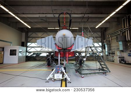 Laage, Germany - August 23, 2014: German Air Force Eurofighter Typhoon Fighter Jet In A Hangar Durin