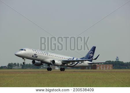 Amsterdam, The Netherlands  -  June 2nd, 2017: Ph-ezx Klm Cityhopper Embraer Erj-190std Taking Off F