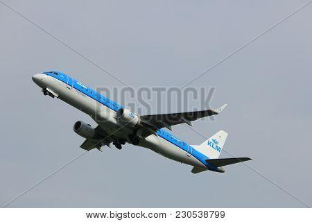 Amsterdam, The Netherlands  -  June 2nd, 2017: Ph-ezw Klm Cityhopper Embraer Erj-190std Taking Off F