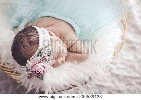 Portrait Of  Adorable Newborn Baby With Floral Head Band Sleeping In Basket Covered With Furry Mat.n