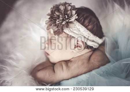 Portrait Of Adorable Newborn Baby With Floral Head Band Sleeping In Basket Covered With Furry Mat.ne